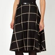 Designer black large checked skirt