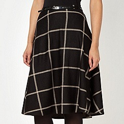 J by Jasper Conran - Designer black large checked skirt
