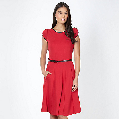 J by Jasper Conran - Designer red PU trim dress