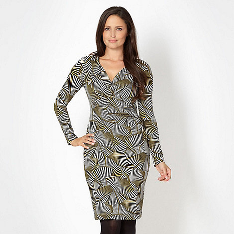 J by Jasper Conran - Designer lime fan patterned wrap dress
