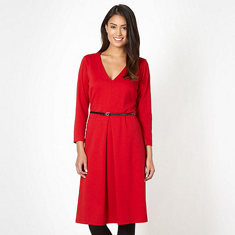 J by Jasper Conran - Designer red V neck belted dress