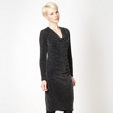 J by Jasper Conran - Designer black metallic glitter cowl neck dress