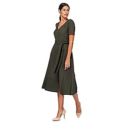 J by Jasper Conran - Dark green V-neck midi tea dress