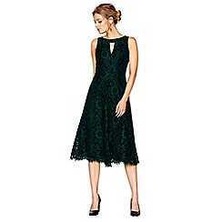 J by Jasper Conran - Green and black lace fit and flare dress