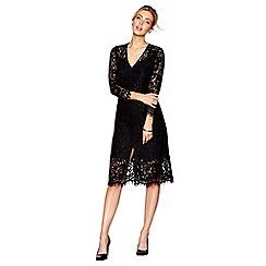 J by Jasper Conran - Black lace v-neck knee length pencil dress