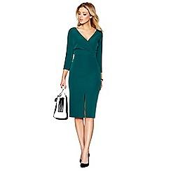 J by Jasper Conran - Green v-neck knee length pencil dress
