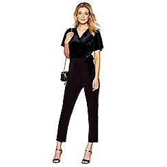 J by Jasper Conran - Black velvet cross front jumpsuit