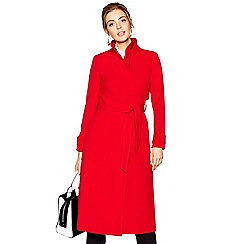 J by Jasper Conran - Red long crepe funnel coat