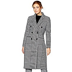 J by Jasper Conran - Black and white check wool blend coat