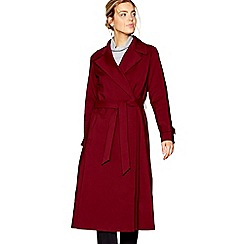 J by Jasper Conran - Dark red longline wrap mac coat