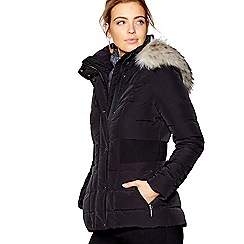 J by Jasper Conran - Black padded faux fur trim hooded down jacket
