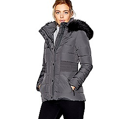 J by Jasper Conran - Khaki padded faux fur trim hooded down jacket