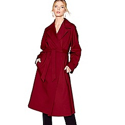 J by Jasper Conran - Maroon longline belted wrap mac coat