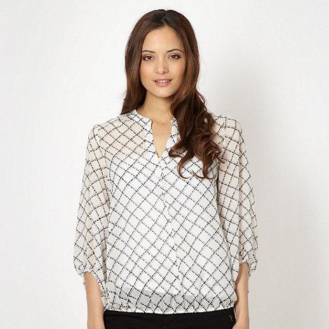 J by Jasper Conran - Designer ivory dotted lattice print blouse