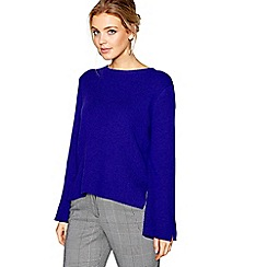 J by Jasper Conran - Blue wool blend split sleeve jumper