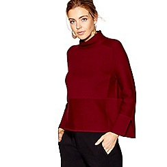 J by Jasper Conran - Dark red cotton and wool blend funnel neck jumper