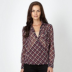 J by Jasper Conran - Designer purple checked wrap blouse