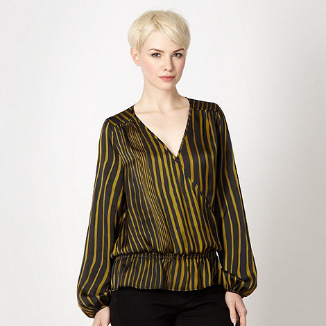 J by Jasper Conran - Designer olive striped wrap front satin top