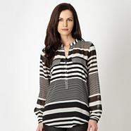 Designer black striped pocket chiffon blouse