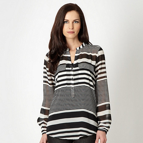 J by Jasper Conran - Designer black striped pocket chiffon blouse