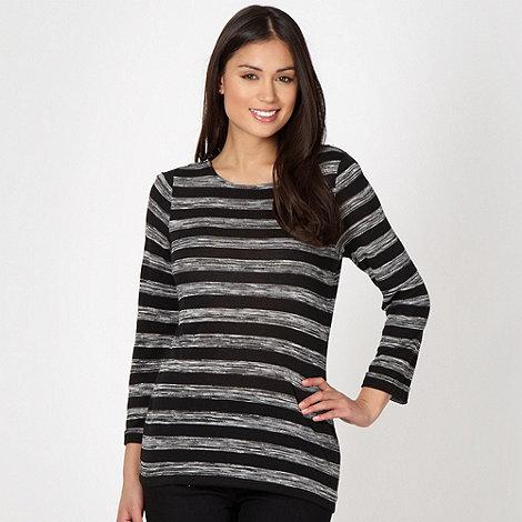J by Jasper Conran - Designer black zip shoulder spacedye striped top