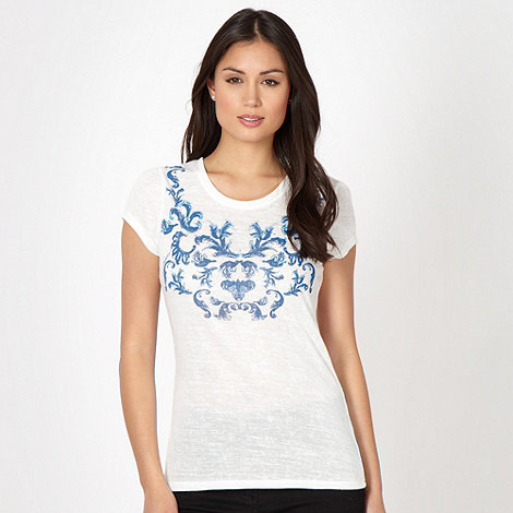 J by Jasper Conran - Designer white rhinestone scroll top