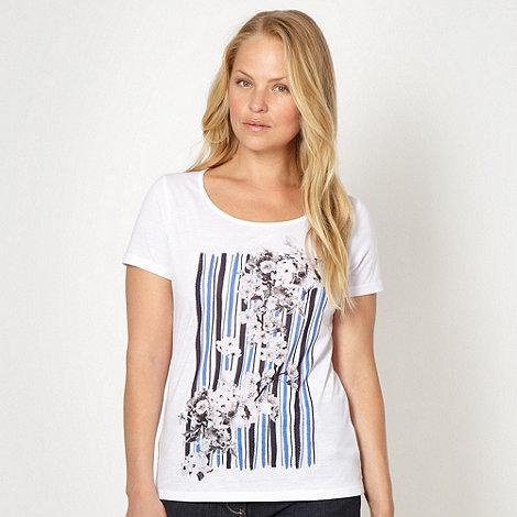 J by Jasper Conran - Designer white striped floral t-shirt