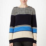Designer navy multi striped jumper