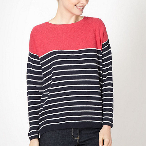 J by Jasper Conran - Designer dark pink striped contrast jumper