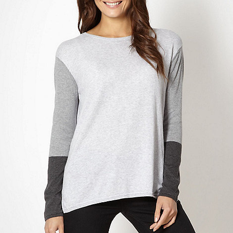 J by Jasper Conran - Designer grey colour block sleeve jumper