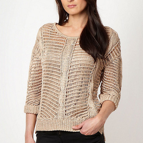J by Jasper Conran - Designer beige metallic open knit jumper
