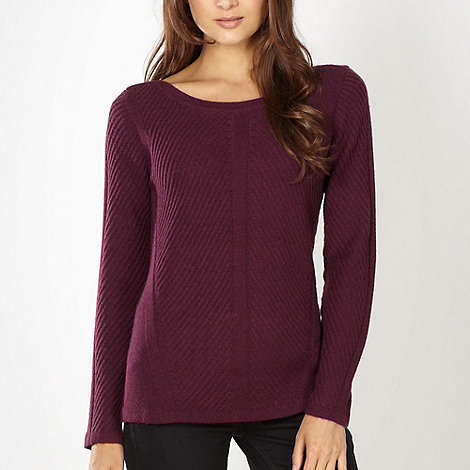 J by Jasper Conran - Designer winter berry ribbed knit jumper