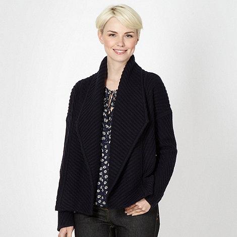 J by Jasper Conran - Designer navy ribbed knit jacket