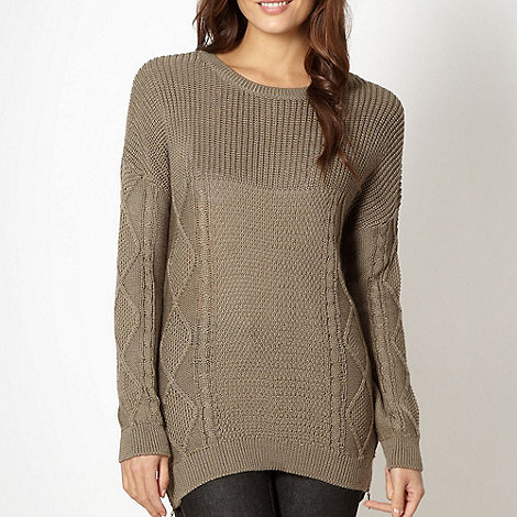 J by Jasper Conran - Designer taupe cable knit zip trim jumper