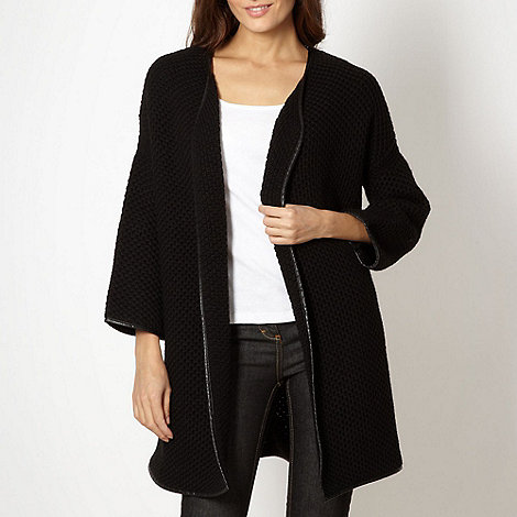 J by Jasper Conran - Designer black knitted edge to edge cardigan