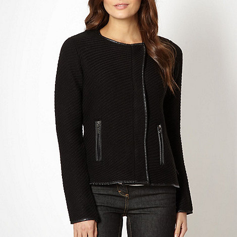 J by Jasper Conran - Designer black knitted biker cardigan
