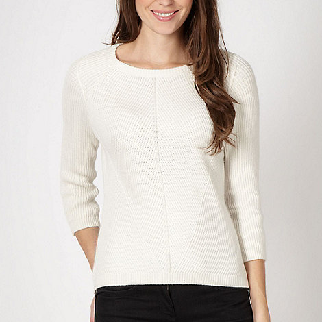 J by Jasper Conran - Designer white ribbed knit jumper