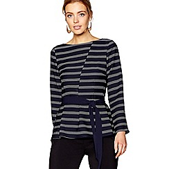 J by Jasper Conran - Navy asymmetric stripe detail top