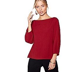 J by Jasper Conran - Red tuck sleeves crepe top