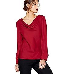 J by Jasper Conran - Dark red long sleeved drape neck top