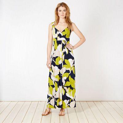 Designer navy large floral jersey maxi dress
