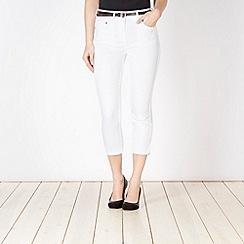 J by Jasper Conran - Designer white cropped skinny belted jeans