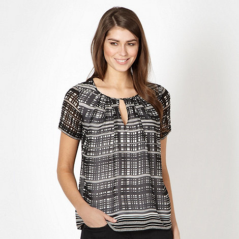 J by Jasper Conran - Designer black grid chiffon top