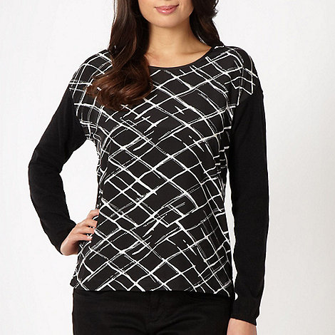 J by Jasper Conran - Designer black woven lattice front jumper