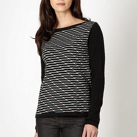 J by Jasper Conran - Designer black grid pattern jumper