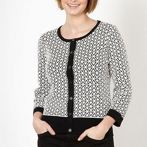 J by Jasper Conran - Designer black textured geometric pattern cardigan