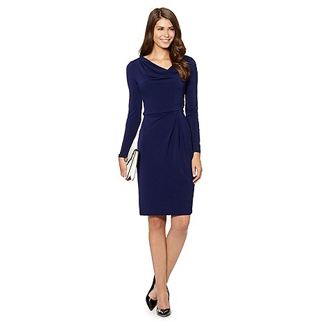 J by Jasper Conran - Designer navy jersey cowl dress