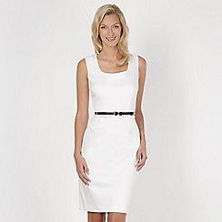 J by Jasper Conran - Designer white belted cotton sateen dress