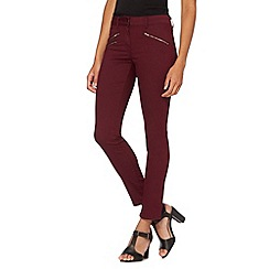 J by Jasper Conran - Designer dark purple zip detail super soft skinny jeans