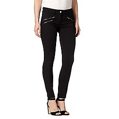 J by Jasper Conran - Designer black zip detail super soft skinny jeans